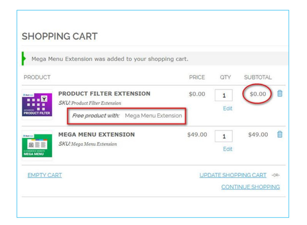 Free gift option cart image