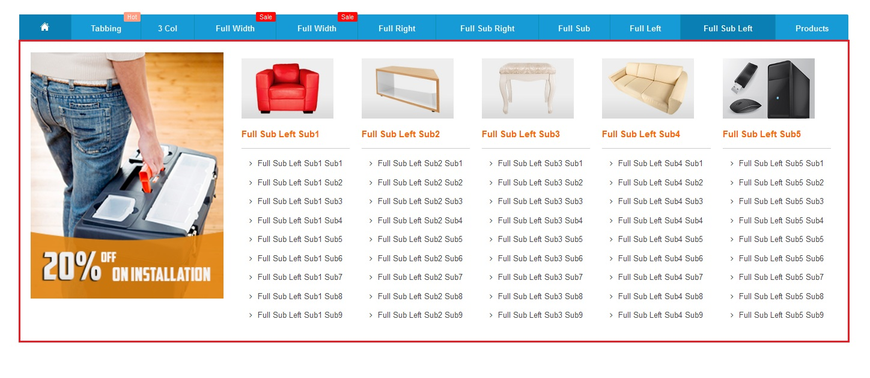 Full width sub categories left block mega menupro image