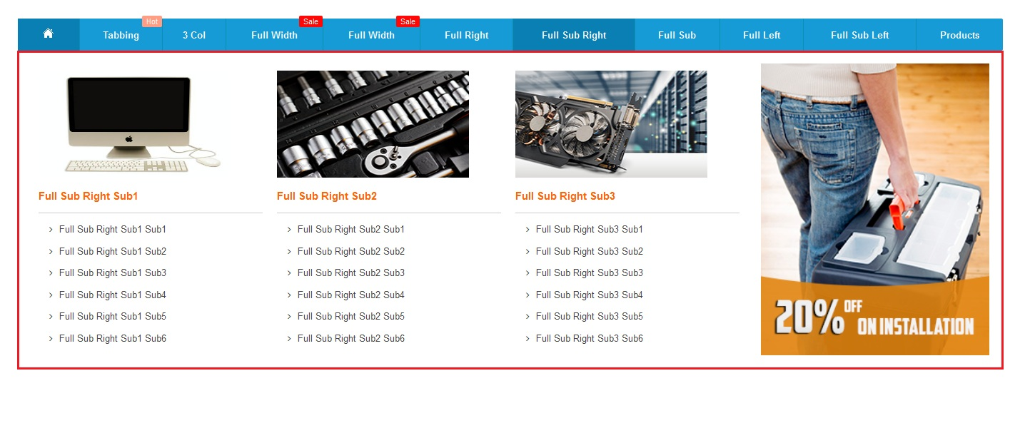 Full width sub categories right block mega menupro image