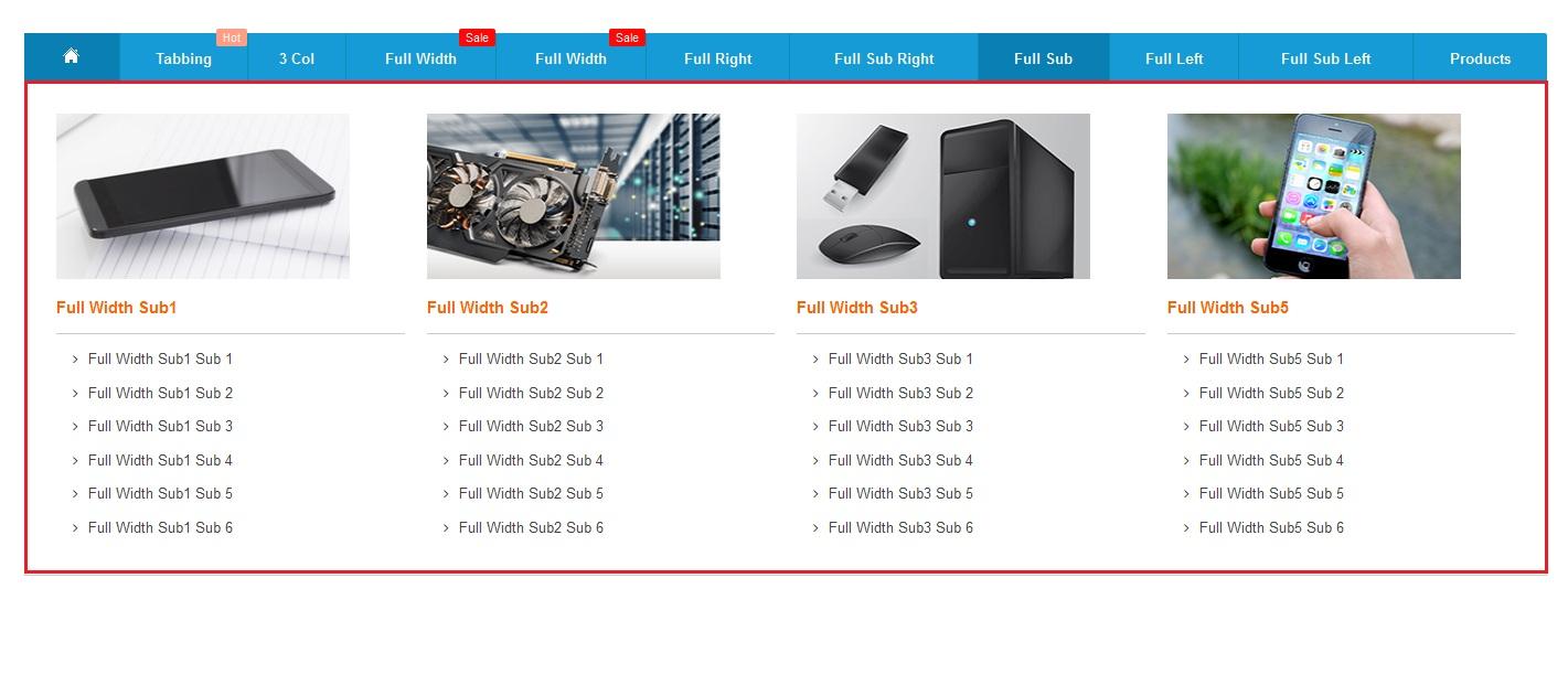 Full width sub categories mega menupro image