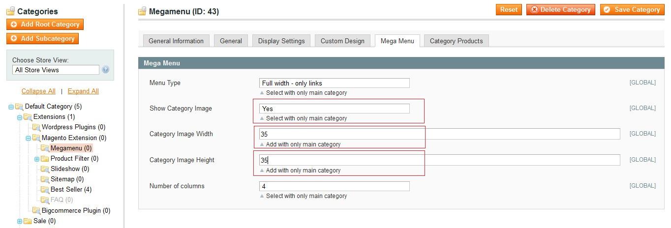 Full width megamenu with category image adminside image