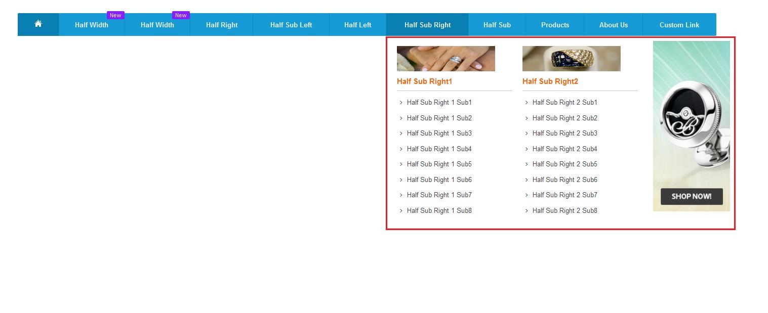 Half width sub categories with right block megamenupro image