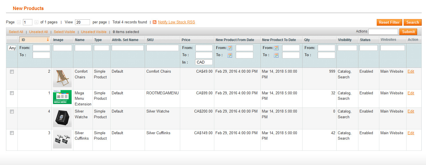 Product filter new product admin side listing image