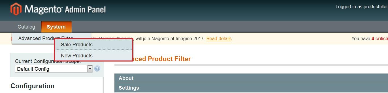 Product filter menu image