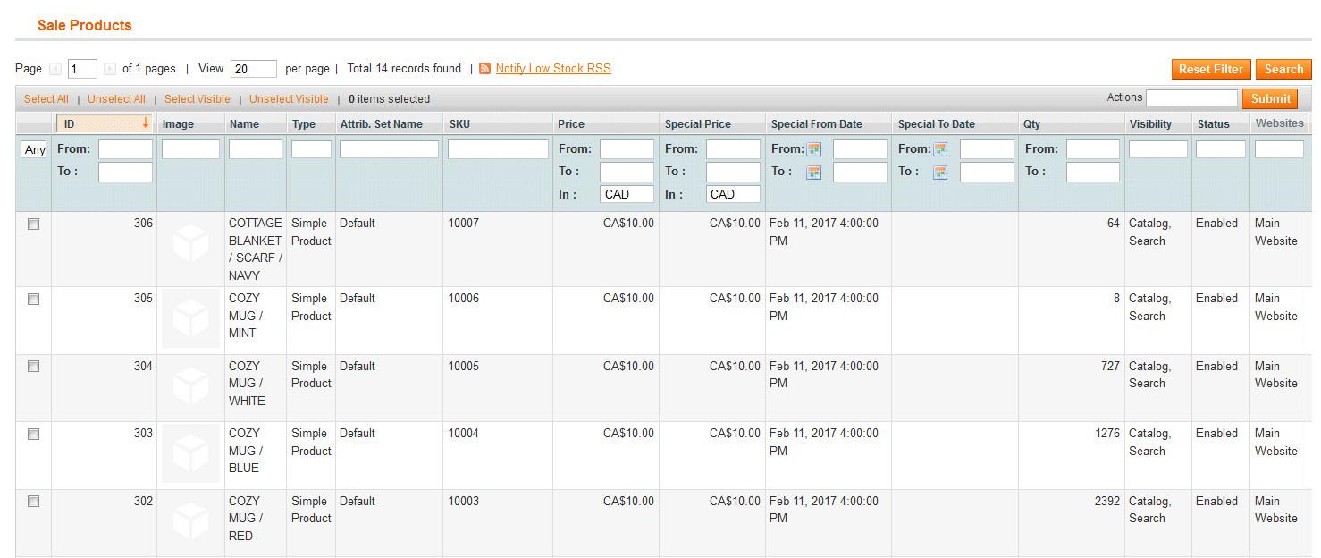 Product filter listing menu image