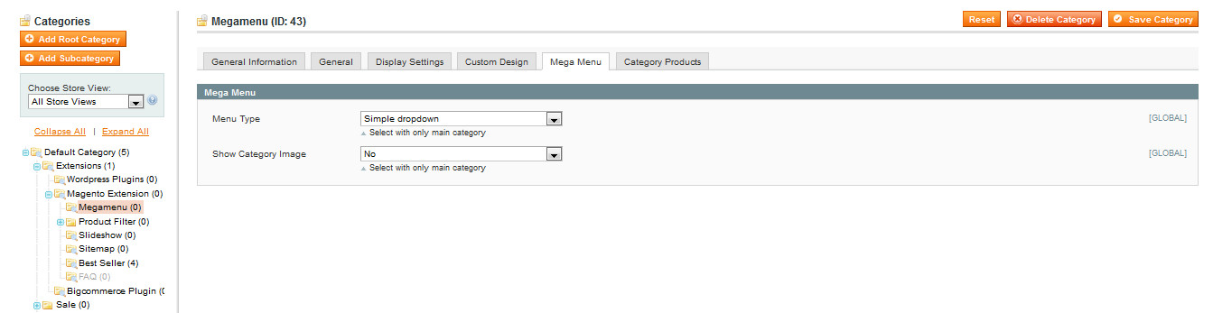 Simple drop down megamenu image