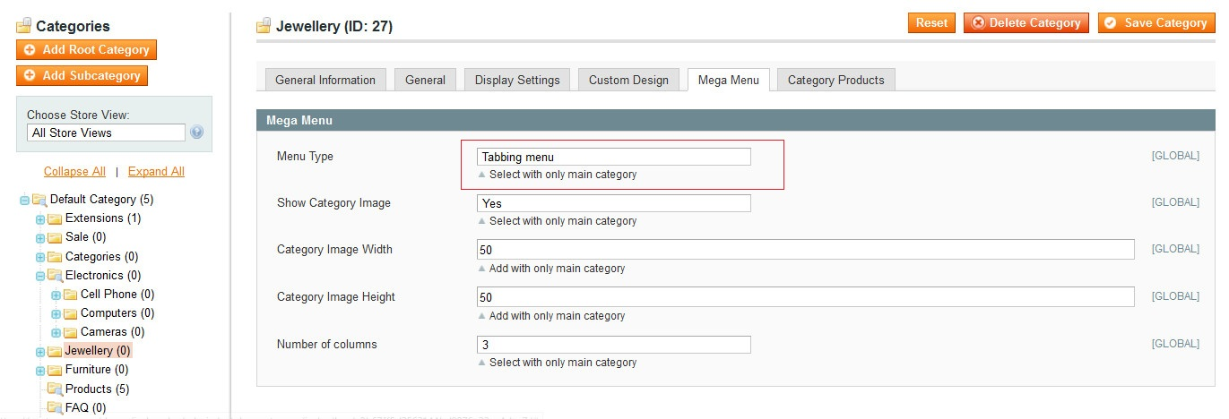 Tabbing menu admin image
