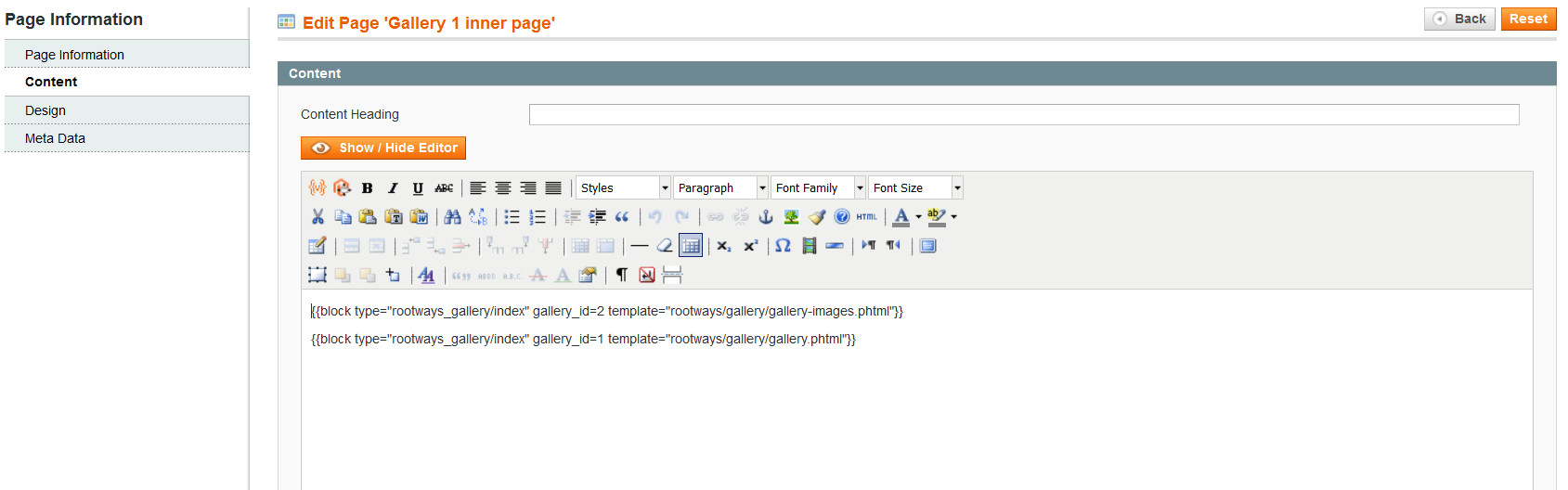 Add gallery in CMS page image