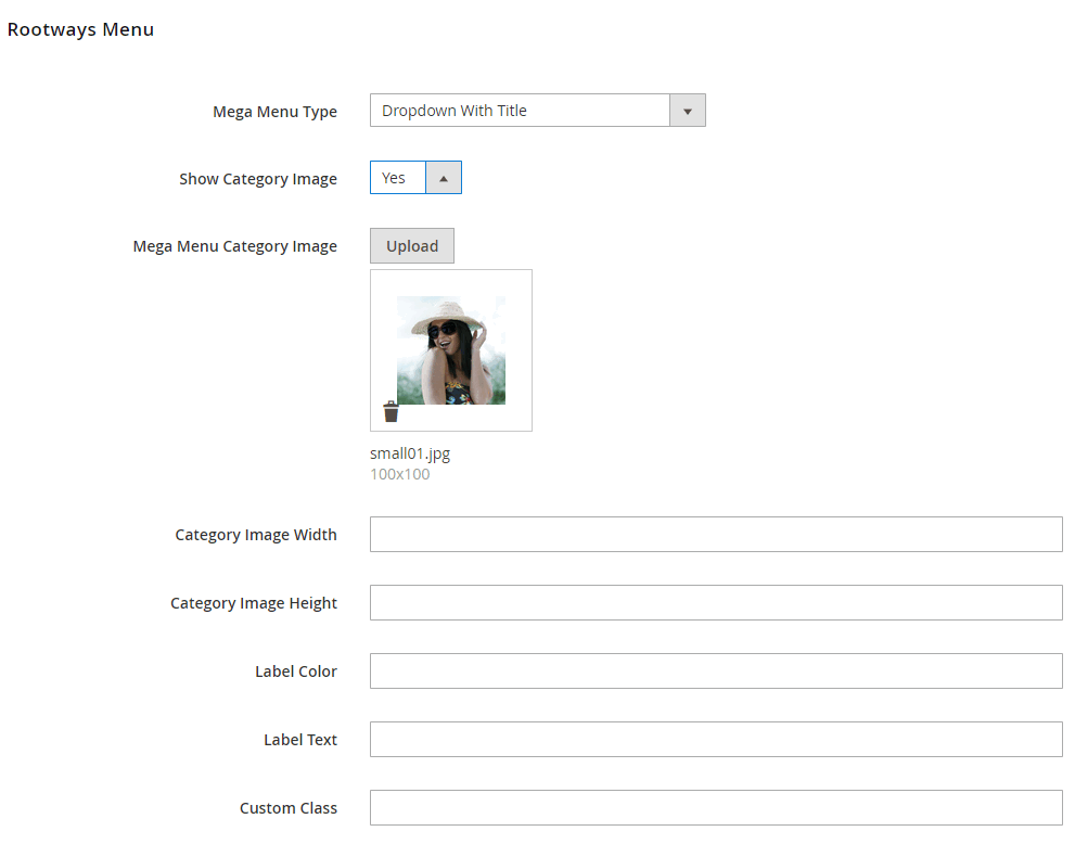 Dropdown with title All Options Admin